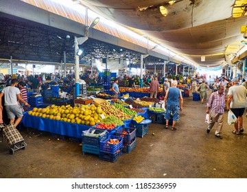 Bodrum, Turkey - July 6, 2018. Citizens shopping in Bodrum market, Kapalı Pazar Yeri, at downtown. Mugla Province, Turkey.