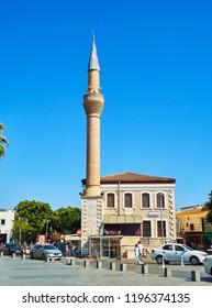 Bodrum, Turkey - July 6, 2018. Merkez Adliye Cami mosque, view from Neyzen Tevfik street. Bodrum. Mugla Province, Turkey.