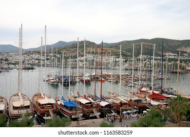 BODRUM, TURKEY - May 19, 2010 : Bodrum Town view Bodrum Marina. Bodrum is popular tourist destination in Turkey.