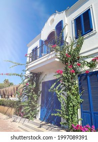 BODRUM, TURKEY. Pink bougainvillea flowers and old blue door on white house in Bodrum.