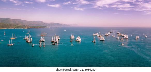 Bodrum, Turkey, September 2018: Bodrum Cup, Gulet Wooden Sailboats