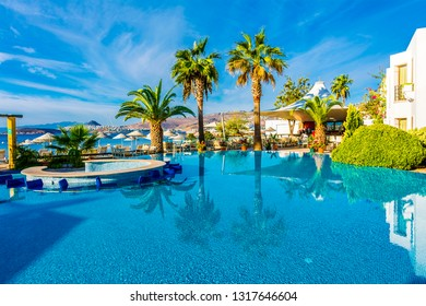 Bodrum, Turkey - September 26, 2016 : A beautiful hotel pool view in Ortakent Village of Bodrum Town.