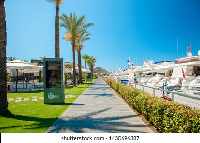 Bodrum, Yalikavak / Turkey - 05/24/ 2019 : View of the Gumusluk, Bodrum Marina, sailing boats and yachts in Bodrum town, city of Turkey. Shore and coast of Aegean Sea with yachts and boats