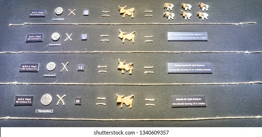 Bodrum,18 July 2018: Bodrum  Underwater Archaeological Museum, in Historical Bodrum Castle. With earned money items received. TURKEY