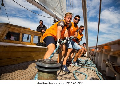 Bodrum/Turkey, October 2018: Bodrum, Turkey, October 2018: Bodrum Cup, Gulet Wooden Sailboats and sailing yachts racing