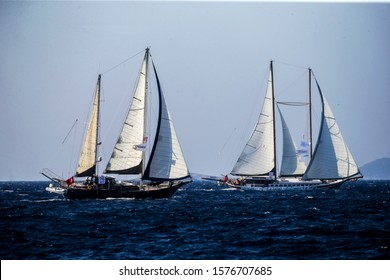 Bodrum/Turkey, October 2019: Bodrum Sailing Cup, Gulet Wooden Sailboats and sailing yachts racing