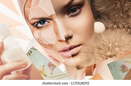 Body art, cosmetics, make up. Portrait of women with geometrical body art and dandelions