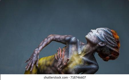 Body art is created in my private Studio for the conceptual case, the idea of animal fantasy woman dragon