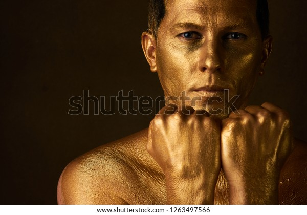 Body Art Paint Gold On Face Stock Photo Edit Now 1263497566