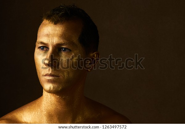 Body Art Paint Gold On Face Stock Photo Edit Now 1263497572