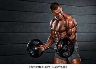 Body Builder Doing Barbell Bicep Curls