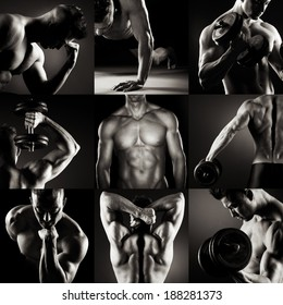 Body builder posing.Various images in a collage on dark background.