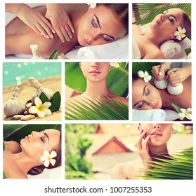 Body care collage  . Spa body massage treatment. Woman having relaxing care with hot herbal balls  in the  beauty salon. Health, beauty and cosmetology