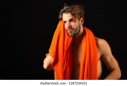Body care concept. Macho attractive nude guy black background. Man bearded tousled hair covered with foam or soap suds. Wash off foam carefully. Man with orange towel on neck ready to take shower.