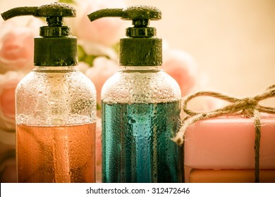 Body care product,shower,shampoo,soap on vintage tone with water drop