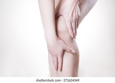 Body care, skin peeling legs. Massaging the hip.