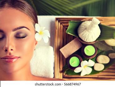 Body care. Spa body massage treatment. Woman having massage in the beauty  salon .