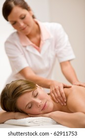Body care - woman back massage at day spa