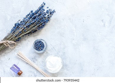body cream with lavender herbs cosmetic stone background top vie