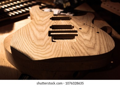 Body of an electric guitar that has just been made.