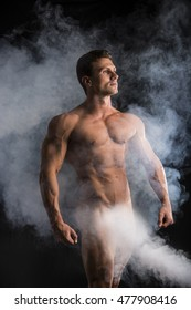 Body of Fit Totally Naked Muscular Man Striking a Pose, Showing Muscles