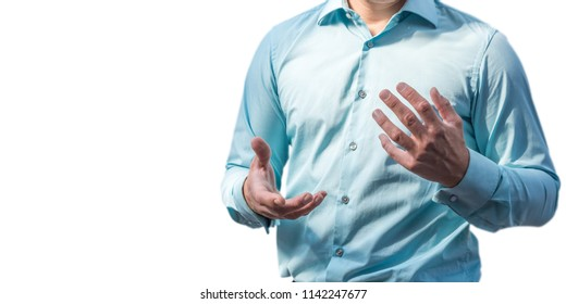 Body language of a businessman at a business presentation