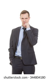 body language. man in business suit isolated on white background. negative thoughts, the index finger is directed vertically to  temple.