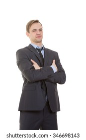 body language. man in business suit isolated white background. Training managers. sales agents gestures of arms and hands. posture of superiority. emphasis thumbs. crossed arms