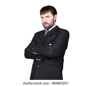 body language. man in business suit, gesture of arms and hands. standard gesture crossed arms. isolated white background. concept of true or false