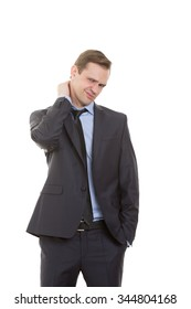 body language. man dressed business suit isolated on white background. rubbing his neck. aching, hand in pocket