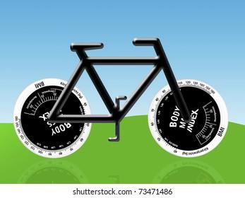 Body Mass Index in Form von Fahrradreifen
