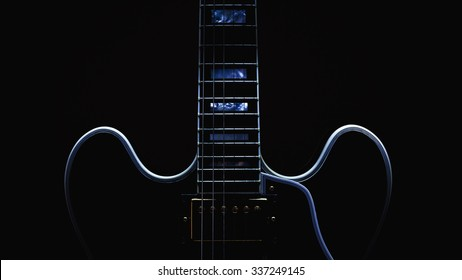 Body and neck of electric guitar, accentuated shapes by illumination.