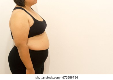 Body of overweight woman