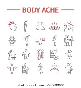 Body Pain and Injury line icons set. Illustration for websites. Medicine signs