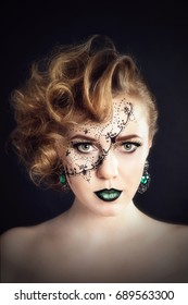 Body painting on the face, hairdresser's art