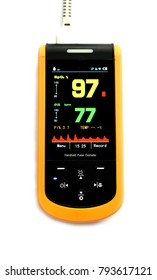 The body of pulse oximeter use to monitor blood oxygen in patients in the hospital.Showing blood oxygen ninety-seven in yellow and pulse seventy -seven in green.That's normal blood oxygen.