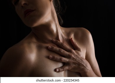 Body scape of woman neck and hand with emotion