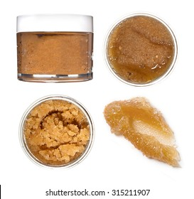Body scrub. Jar of honey sugar peeling. Photo