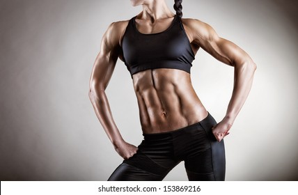 The body sports an attractive woman on gray background