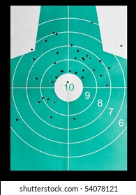 body target damaged by bullet holes - inaccuracy concept
