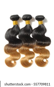 body wave black to blonde two tone ombre dip-dye human hair weave bundles extensions