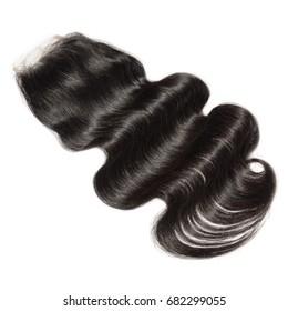 Body wave black virgin human hair extensions lace closure