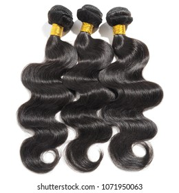 Body wavy black human hair weaves extensions bundles
