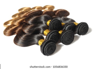 Body wavy three tone ombre sytle black with brown and blonde human hair weaves extensions