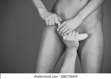 Naked men in pain