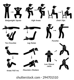 Body Workout Exercise Fitness Training (Set 2) Stick Figure Pictogram Icons