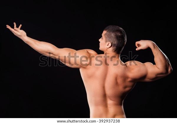 Bodybuilder Archer Pose Bodybuilders Aesthetic Archer Stock