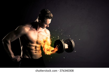 Bodybuilder Athlete Lifting Weight Fire Explode Stock Photo (Edit