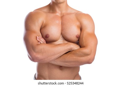 Bodybuilder bodybuilding chest muscles upper body builder building strong muscular man isolated on a white background