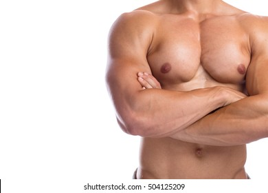 Bodybuilder bodybuilding flexing chest muscles posing copyspace body builder building strong muscular man isolated on a white background